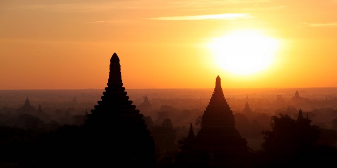 Sunrise and Sunset in Bagan, Myanmar