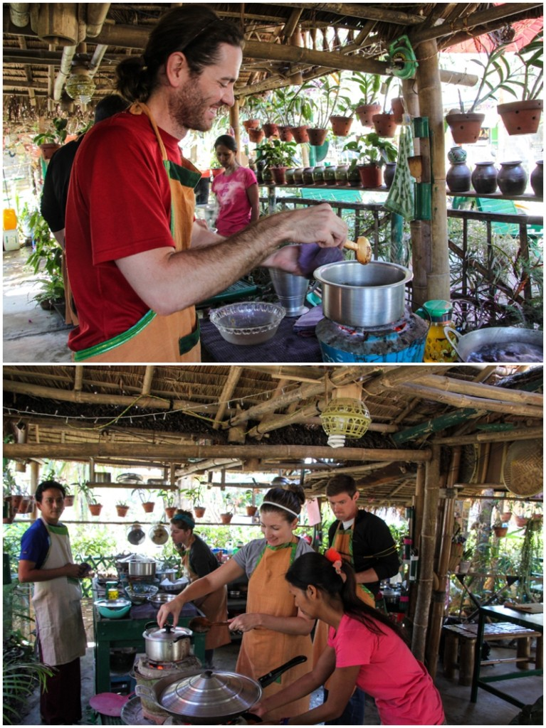 Alana and Matt at a cooking class in Inle Lake
