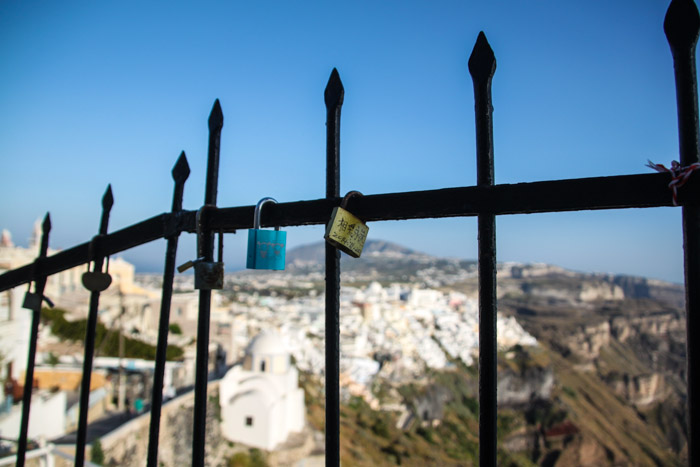 Love locks on Santorini in Greece