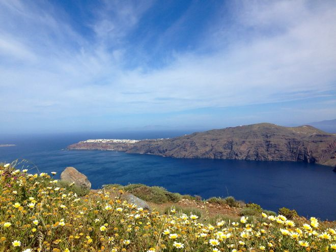 view of Aegean Sea from Santorini