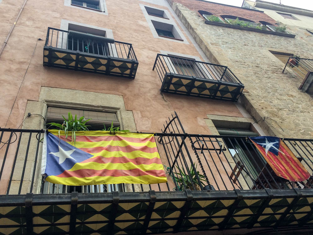 Catalonia independence flag flying in Barcelona