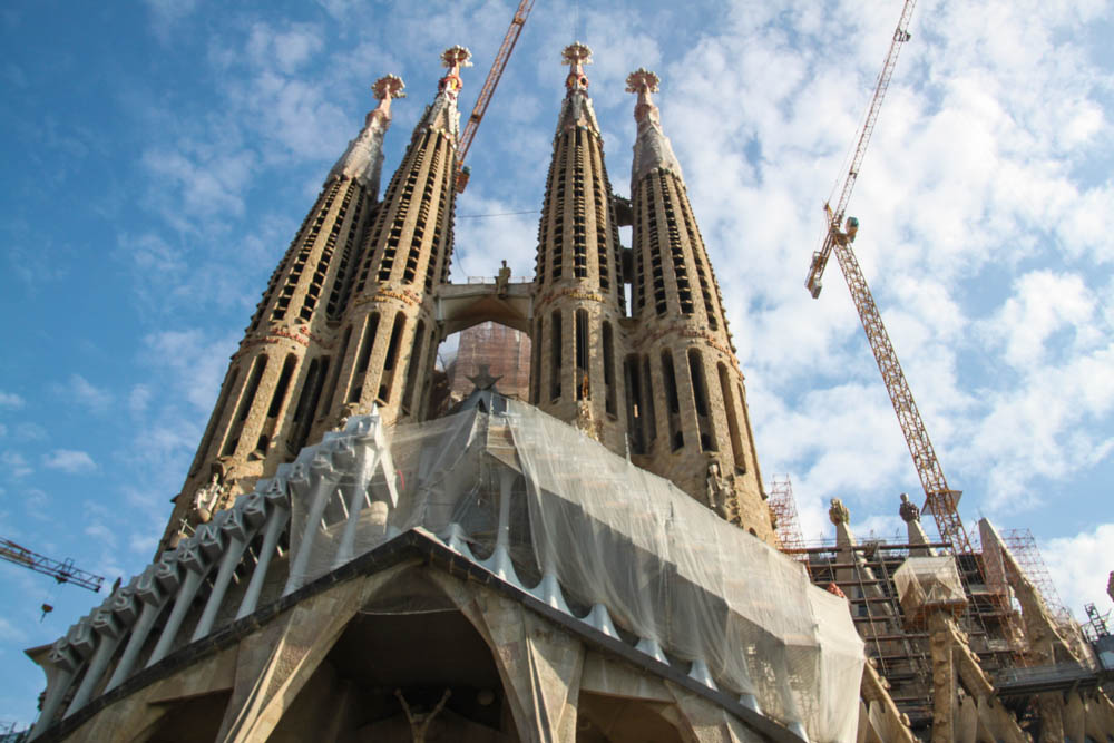 La Sagrada Familia construction in Barcelona