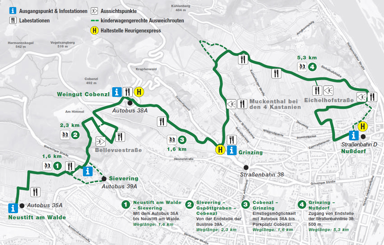 Vienna Wine Hiking Day Weekend Route