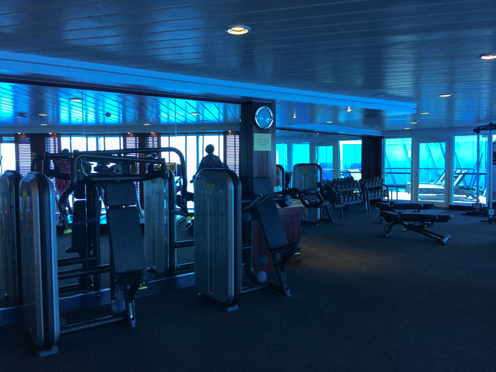 The gym on the Adonia ship with Fathom Travel